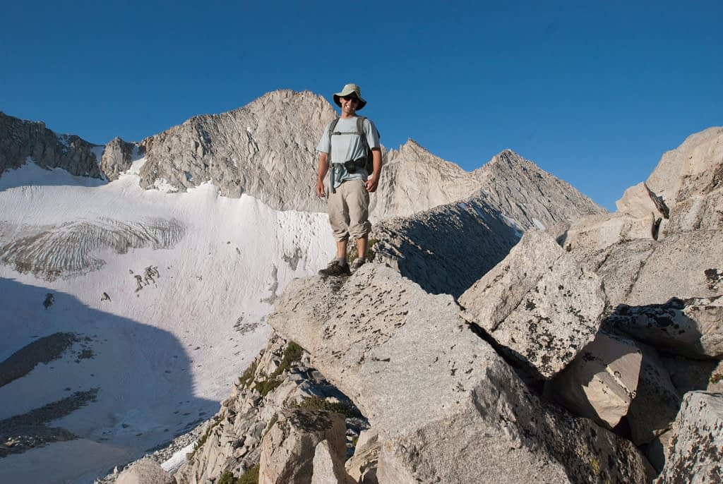 SYMG Guide David Merin on the N Ridge of Yosemite's Mt Conness